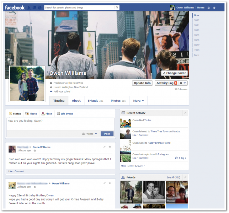 Facebook Timeline Change