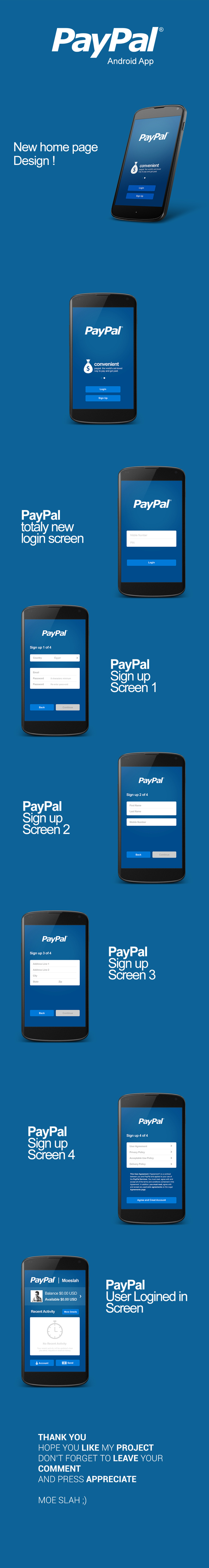 Paypal App Concept Android