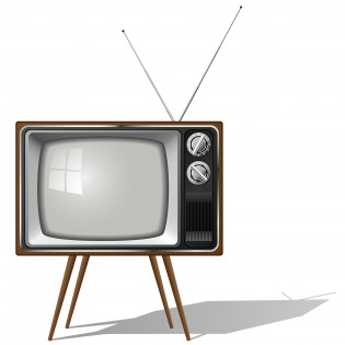 Old-fashioned four legged TV set isolated