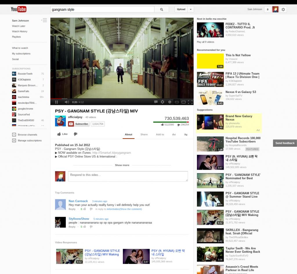 New YouTube Layout Gangnam Style